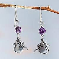 Fluorite dangle earrings, 'Purple Inca Sparrow' - Sterling Silver Handcrafted Purple Fluorite Bird Earrings
