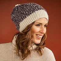100% alpaca hat, 'Pretty in Plum' - Purple and Ivory Alpaca Wool Hat Knitted by Hand in Peru
