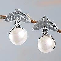 Cultured pearl dangle earrings, 'Luminous Fruit' - Andes Fair Trade Sterling Silver Cultured Pearl Earrings