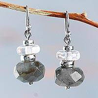 Labradorite and quartz dangle earrings, 'Tenuous Clarity' - Handcrafted Sterling Silver Labradorite and Quartz Earrings