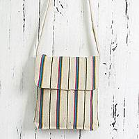 Wool shoulder bag, 'Pachangara Rainbow' - Hand Woven White Wool Shoulder Bag with Multicolor Stripes