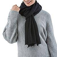100% alpaca scarf, 'Black Thunder' - 100% Alpaca Knit Scarf Soft and Warm in Black Zigzags