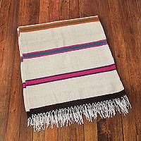 Wool throw, 'Rainbow Horizon' - Hand Woven Ivory Color Wool Throw with Multicolor Stripes