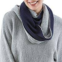 100% alpaca reversible infinity scarf, 'Mist and Night' - 100% Alpaca Grey and Blue Reversible Infinity Scarf