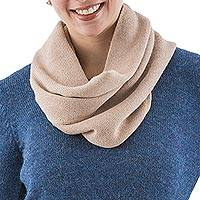 100% alpaca infinity scarf, 'Nazca Sands' - Infinity Scarf Beige Knitted 100% Natural Alpaca from Peru
