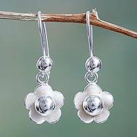 Silver flower earrings, 'Precious Camellia' - Handcrafted Silver 950 Dangle Flower Earrings from Peru