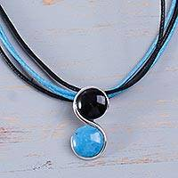Chrysocolla and onyx pendant necklace,
