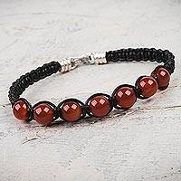 Carnelian and leather Shambhala-style bracelet, 'Warmth' - Leather Shambhala Carnelian Bracelet Hand Crafted in Peru