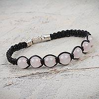 Leather and rose quartz Shambhala-style bracelet, 'Love' - Handmade Peruvian Leather Beaded Rose Quartz Bracelet