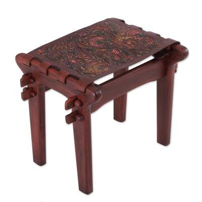 Tornillo wood and leather stool, 'Andean Paradise' - Birds and Flowers Embossed on Leather and Wood Stool