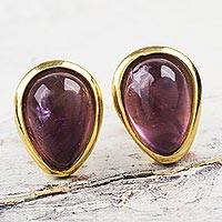 Gold plated amethyst button earrings, 'Cherry Drops' - Glossy Amethyst Gems on 18k Gold Plated Peruvian Earrings