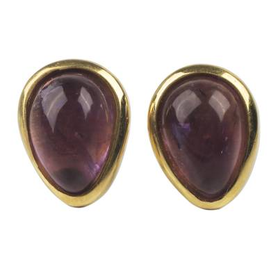 Glossy Amethyst Gems on 18k Gold Plated Peruvian Earrings
