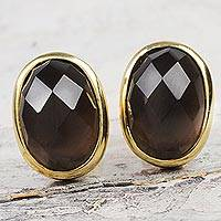 Gold plated smoky quartz button earrings,