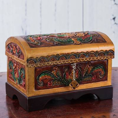 Leather and cedar wood jewelry box, 'Bird of Floral Haven' - Bird and Flowers Embossed Leather and Cedar Wood Jewelry Box