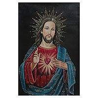 'Heart of Jesus' - Sacred Heart Oil Painting of Jesus from Peru
