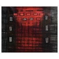 'Rebirth' - Abstract Oil Painting in Red and Grey from Peru