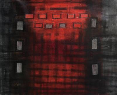Abstract Oil Painting in Red and Grey from Peru