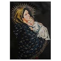 'Madonna and Child' - Gilded Hand Painted Oil on Canvas Virgin Mary Portrait