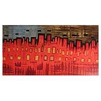 'Suburb' - Original Expressionist Painting of Red Peruvian Metropolis