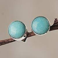 Amazonite stud earrings, 'Serene Mind' - Handcrafted Modern Minimalist Amazonite Earrings