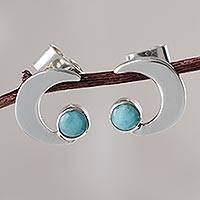 Amazonite button earrings, 'Moon Lake' - Amazonite and Silver Artisan Crafted Earrings from Peru