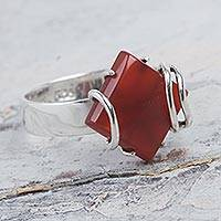 Carnelian cocktail ring, 'Fiery Aura' - Modern Peru Artisan Crafted Carnelian Cocktail Ring