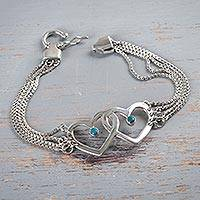 Chrysocolla heart bracelet, 'Serene Love' - Sterling Silver and Chrysocolla Heart Bracelet from Peru