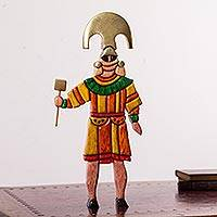 Wood sculpture, 'Honorable Lord of Sipan' - Wood Sculpture of Pre-Inca Ruler in Original Design