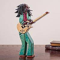 Wood sculpture, 'Reggae' - Reggae Sculpture of Bob Marley Hand Crafted Wood Art