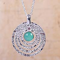 Opal pendant necklace, 'Echo' - Textured Sterling Silver Handcrafted Necklace with Opal