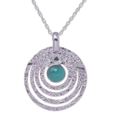 Textured Sterling Silver Handcrafted Necklace with Opal