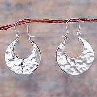 Sterling silver hoop earrings, 'Sipan Moon' - Andean Hammered Sterling Silver Hoop Earrings