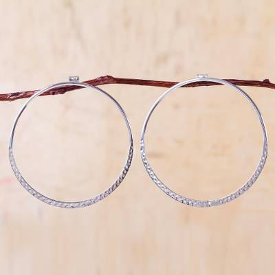 Sterling silver hoop earrings, 'Pebble Path' - Andean Sterling Silver Contemporary Hoop Earrings