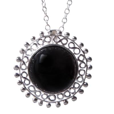 Sun Theme Handcrafted Sterling Silver and Obsidian Necklace
