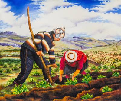 'Tancacho' - Signed Painting of Northern Peruvian Farmers