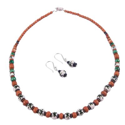 Hand Painted Ceramic Beaded Jewelry Set from Peru