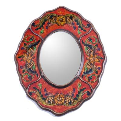 Mirror, 'Red Colonial Wreath' - Vintage Style Reverse Painted Glass Wall Mirror