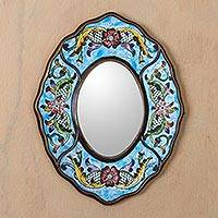 Mirror, 'Blue Colonial Wreath' - Reverse Painted Glass Wall Mirror in Aged Blue