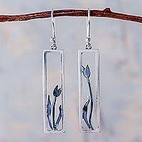 Sterling silver dangle earrings, 'Tulip in the Window' - Modern Artisan Crafted Framed Tulip Silver Earrings