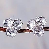 Sterling silver button earrings, 'Pretty Posy Trio'
