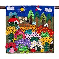 Applique wall hanging, 'Harvesting Joy' - Cheerful Applique Arpilleria Wall Hanging from Peru