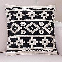 Wool cushion cover, 'Inca Duality' - Handwoven Black and White Inca Motif Wool Cushion Cover