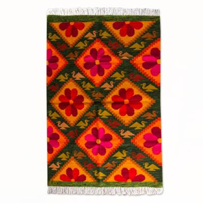 Wool rug, 'Floral Bird Fiesta' (4x5.5) - Colorful Andean Handwoven Wool Rug with Birds and Flowers