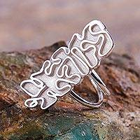 Sterling silver cocktail ring, 'Moonlit Labyrinth' (Peru)
