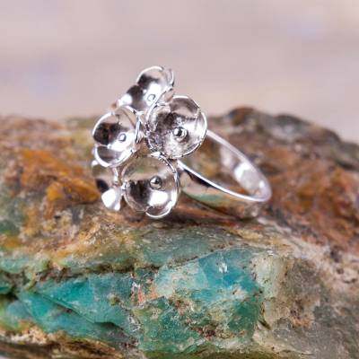 engraved stackable mothers rings - Sterling Silver Floral Ring Artisan Jewelry from Peru