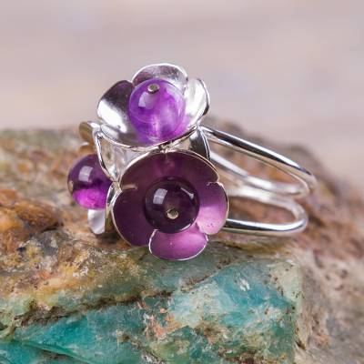 Amethyst on Sterling Silver Floral Ring Artisan Jewelry