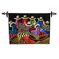 Wool tapestry, 'Las Cajamarquinas' - Hand Woven Wall Tapestry of Cajamarca Women