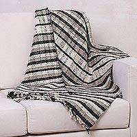 Wool throw, 'Natural Warmth' - Striped Handwoven Throw in Natural Undyed Wool from Peru