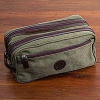 Men's leather accent cotton travel case, 'Olive Textures' - Men's Leather Accent Olive Green Cotton Travel Case