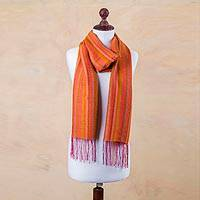 Alpaca and silk scarf, 'Magical Orange' - Striped Pink and Orange Handwoven Alpaca and Silk Scarf